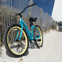 bike parked at the beach on emerald coast