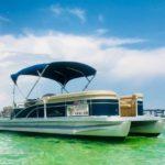 Boat rental parked at the famous Crab Island sandbar
