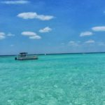 Boating through the emerald waters of Crab Island