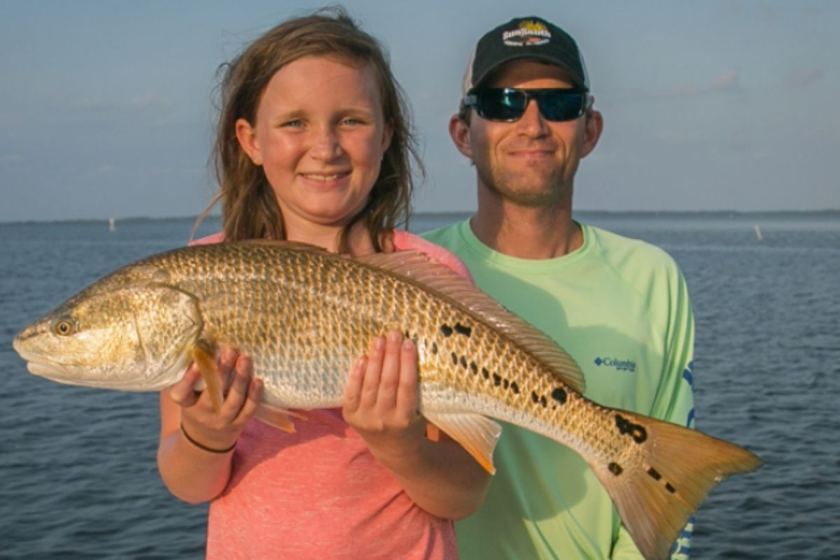 Massive redfish caught on an inshore private fishing charter