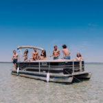Pontoon rental anchored at Crab Island in Destin