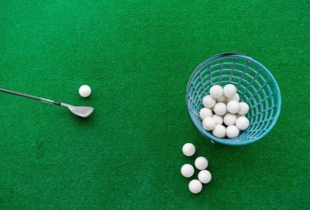 bucket of golf balls for a family-fun round of golf