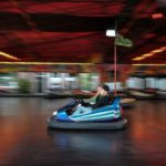 driving bumper cars at The Track in Destin