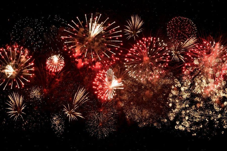 fireworks display at Baytowne Wharf
