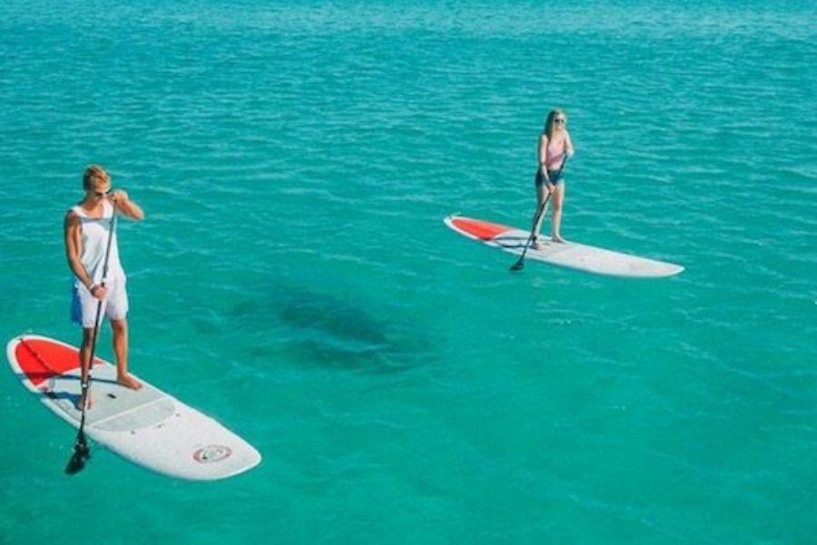 paddleboarding at Crab Island