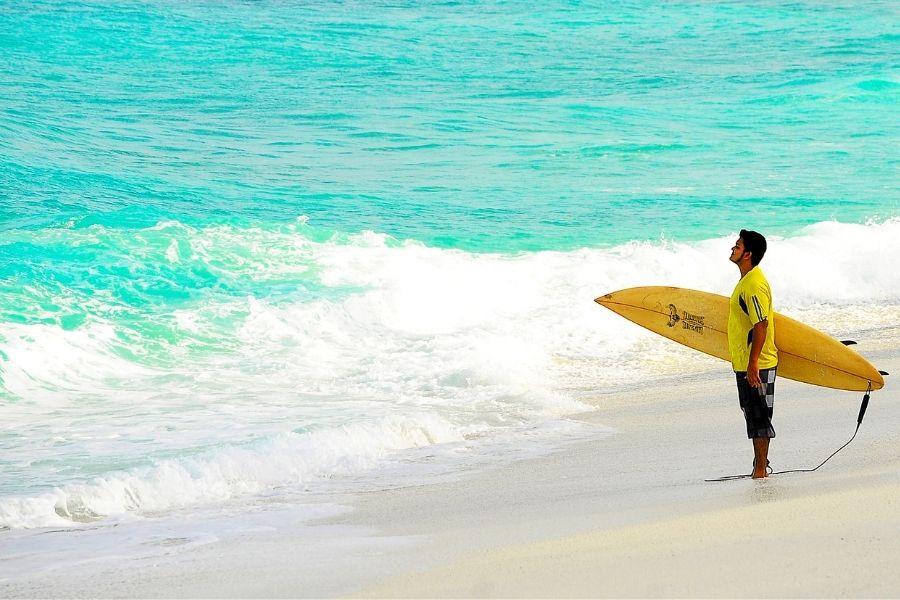 surfing at the Okaloosa Island Boardwalk