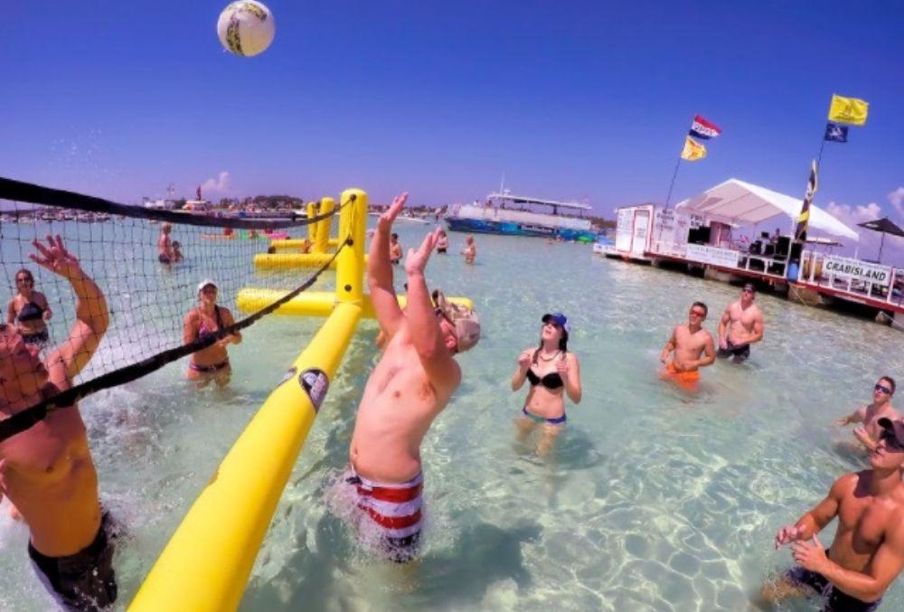 volleyball game at Crab Island in Destin, FL